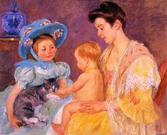 """artist-cassatt:  """"Children Playing with a Cat, 1908, Mary Cassatt  Size: 104.14x83.82 cm  Medium: oil on canvas"""""""