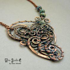 Copper Wire Wrapped Pendant With Ocean Jasper w Wire Studio by Ilona Selavina na DaWanda.com
