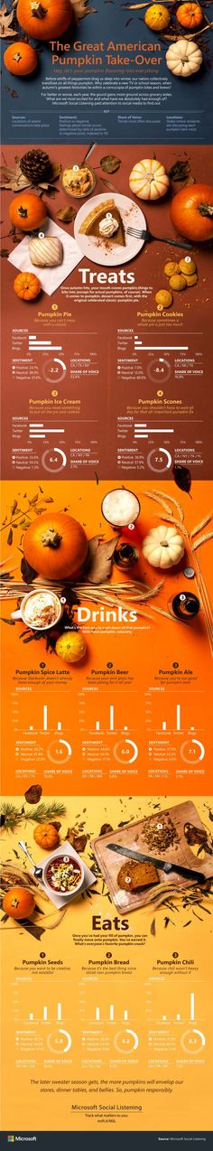 Halloween may have come and gone, but pumpkins are still everywhere — pie, coffee, beer. Microsoft Social Listening analyzed conversations about all things pumpkin on Facebook, Twitter and blogs, and it shared its findings in infographic form.  Readers: Are you a fan of the fall pumpkin craze in food and drink?
