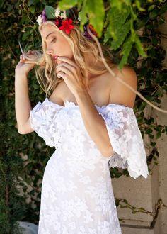 Off the Shoulder Lace Wedding Dress, Boho Wedding Dress, French Lace Wedding Dress, Train Wedding Dr