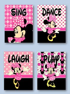4ee2bfe0f3d Minnie Mouse 5x7 Prints Girls Room Nursery Pink For Minnie Mouse Bedding in  Home   Garden