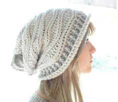 (4) Name: 'Crocheting : Cabled Wrap Slouchy Hat