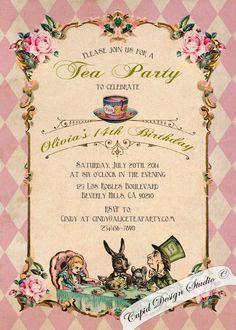 Alice in Wonderland Invitation. Vintage Birthday by CupidDesigns