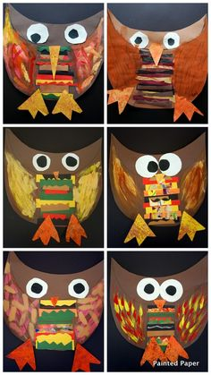 Gotta try this with kinder! Could save painted paper from the pumpkin collage for the feet. Kindergarten Art Lessons, Art Lessons Elementary, Owl Art, Bird Art, Classe D'art, Painted Paper, Painted Owls, Fall Art Projects, Owl Crafts