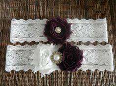 Wedding Garter Set, Bridal Garter Set, Wedding Garter, Wedding Garter Belt, Eggplant Purple Flower Garter, Lace Garter, Pearl Garter