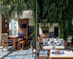 A varanda gourmet é o sonho de consumo de muita gente. No porjeto da arquiteta Sema de Sá Moreira, ela tem churrasqueira, televisão, mesa e muito espaço para receber. Plantas dão o visual de área externa.
