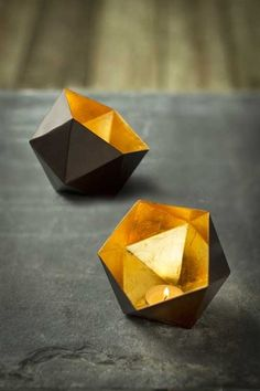 Metalic Hexagon Tealight with Gold Leaf Interior. Light it with Candle Impressions flameless LED votives to prodct it from wax and soot damage. Iron Candle Holder, Votive Candle Holders, Candle Lanterns, Pillar Candles, Paper Stars, Vintage Iron, Tea Light Holder, Or Antique, Gold Leaf