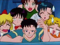 Seiya, Usagi, Minako, Makoto, Ami, and Rei