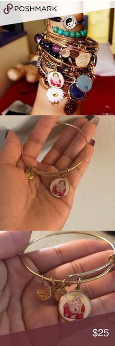 """✨Alex and Ani✨ ☯️Laughing Buddha 🕉✨ ✨☯️Alex and Ani Laughing Buddha Bangle — Shiny Gold Finish🕉✨ Joy • Optimism • Enlightenment 💋 Really pretty color! Looks good stacked! 💫 💋 Some rose-golding/ slight tarnish on ring holding """"Laughing Buddha"""" charm  💋Pictures taken to best of my ability (cloudy out so natural lighting made picture look grainy 😕)  💋Original tag included, I'm sorry no card! Alex and Ani Jewelry Bracelets"""