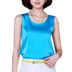 9c72f6a0e330a Tanks Camis 2017 Summer Tank Top Loose Casual Chiffon Solid Sleeveless Vest  All-match T-shirts for Women Bright Silk 14 Color Tops Plus Size   Find out  more ...