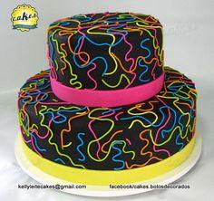 Bolo Neon  www.facebook.com/cakes.bolosdecorados