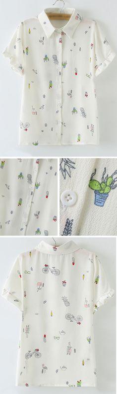 Multicolor Buttons Front Short Sleeve Print Chiffon Blouse