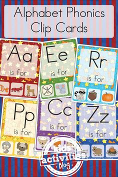 Free Kids Printable Alphabet Phonics Clip Cards make letter learning FUN!