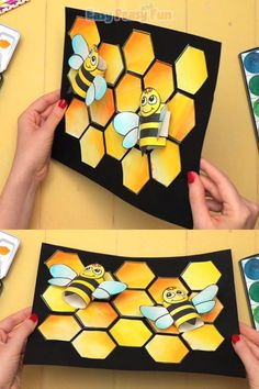 Do you have bees on your mind? If so, this Honeycomb and Bees Craft is going to make your day. Easy Paper Crafts, Bee Crafts, Bunny Crafts, Arts And Crafts, Bible Crafts For Kids, Arts Integration, Spring Crafts, Shower Party, Toddler Activities