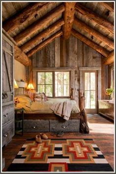 I like this sunny cabin bedroom. For rustic cabin decor for your cabin retreat, you will find a wonderful variety at Lights in the Northern Sky. Cabin Homes, Log Homes, Tiny Homes, Sweet Home, Cabins And Cottages, Log Cabins, Mountain Cabins, Rustic Cabins, Rustic Country Homes