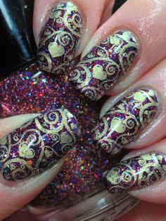 Antique Looking Valentines Day Mani - Canadian Nail Fanatic