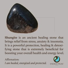 Shungite Stone - You will love Energy Muse Shungite Stones. Discover the benefits of the shungite healing properties and of healing crystals and their meanings. Crystal Healing Stones, Crystal Magic, Crystal Grid, Stones And Crystals, Gem Stones, Chakra Crystals, Chakra Stones, Black Crystals, Crystal Meanings