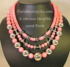 newly added, pink wood necklaces, starting at $18 Florida Cowgirls