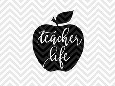Teacher Life Apple inspire inspiration motivate influence SVG file - Cut File - Cricut projects - cricut ideas - cricut explore - silhouette cameo projects - Silhouette SVG and DXF Cut File by KristinAmandaDesigns