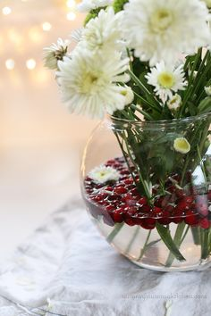 "Fill a vase of flowers with fresh cranberries for the holidays.  Also, use cranberries as fun ""floaters"" in holiday drinks.  My nutrionist did this at their party and was so festive!  xo F"