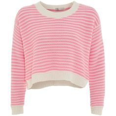 Cameo Rose Pink and White Stripe Crop Jumper ($27) ❤ liked on Polyvore