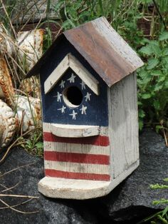Handpainted Primitive Americana Flag Birdhouse