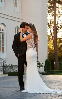accab5ba645 6534 Backless Sheath Wedding Gown by Stella York Fit And Flare Wedding Dress