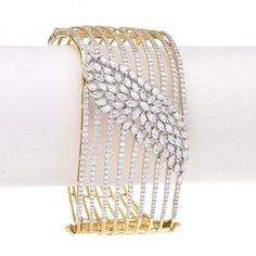 Luxurious design broad #bangle bracelet, encrusted with 477 round brilliant and…