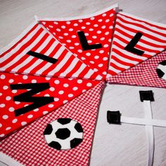Handmade football flag bunting, personalised with any name. Each flag is carefully produced by hand therefore can be made to suit your own ideas. Kids Gifts, Baby Gifts, Personalised Bunting, Flag Football, Fabric Bunting, Flag Banners, Boy Names, Christening, Nursery Decor
