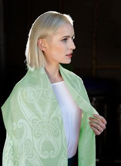 Book of Kells Silk Pashmina: The inspiration for these pashmina scarves comes directly from artwork found in the Book of Kells in Trinity College, Dublin. Irish Clothing, Visit Dublin, Irish Fashion, Book Of Kells, Woolen Mills, Pashmina Scarf, Summer Collection, Celtic, Spring Fashion