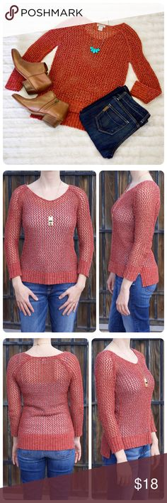 Lucky Brand Loose Knit Sweater Lucky Brand rust orange sweater. Must wear layer underneath due to loose knit. Gently worn. Women's size small. Hang up ribbon loops (or whatever they are called) have been cut out (seen in last photo). Lucky Brand Sweaters Crew & Scoop Necks