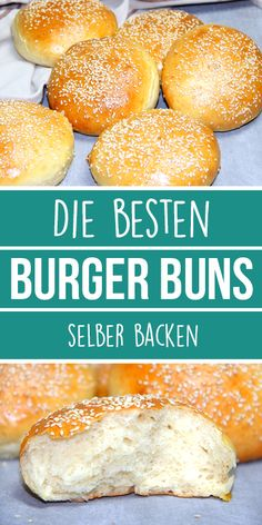 Bake the best BURGER BUNS yourself. Super soft and super fluffy. - These perfect burger buns are the best I& ever eaten. So nice fluffy and soft and if it& - Best Burger Buns, The Best Burger, Good Burger, Pain Burger, Burger Co, Hamburger Meat Recipes, Hamburger Buns, Vegan Breakfast Recipes, Vegan Recipes