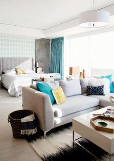 Light + Bright Bachelorette Loft - modern - Living Room - Los Angeles - BAM Design Lab