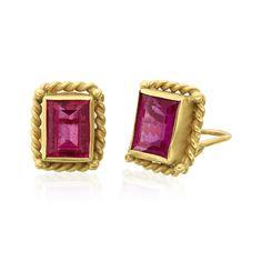 18K Gold Twist Wire Bezel set Pink Tourmaline Earrings Designed By The Mazza Company