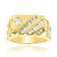 Luxurman 14k Yellow Gold Men's 5/8ct TDW Diamond Ring (H-I, SI1-SI2) (14k White Gold Size 12.5)