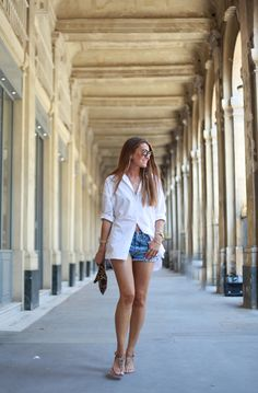a white shirt and a pair of shorts