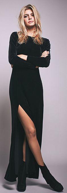 [In burgundy stretch velvet - lower the slit a bit, reshape the neckline to a scoop - meke]