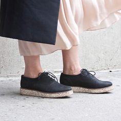 Platform Oxfords Black/glitter platform oxfords Kurt Geiger Shoes Flats & Loafers