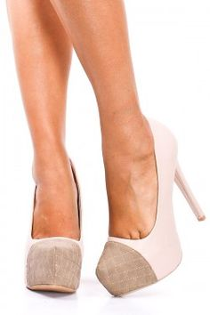 NUDE FAUX LEATHER QUILTED TOE PUMPS HEELS $25.99 http://paradiseinternetmall.net/