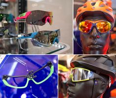 The best of Eurobike 2014: clothing, saddles and more | CyclingTips - Some of the new sunglasses on show. Bottom left: The BBB Adapt special edition glasses have a split frame design. Twist the nose piece and it slightly opens the frame to allow lenses to be swapped out easily.