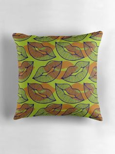 """""""Sexy Lips Seamless Pattern"""" Throw Pillows by ZaryaKiqo 