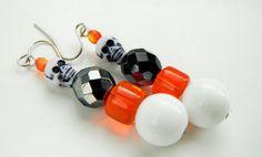 White Skull Earrings Black Orange Beaded Earrings by mscenna
