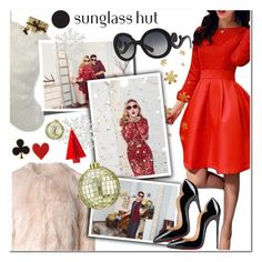 """""""Celebrate in Every Shade with Sunglass Hut: Contest Entry"""" by maria-maldonado ❤ liked on Polyvore featuring RED Valentino, Helen Moore, CB2, Prada, Christian Louboutin and Alison Lou"""