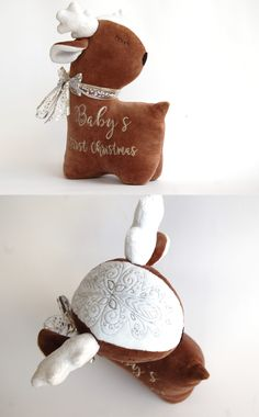 My First Christmas Christmas Deer Toy Baby Deer Pillow Newborn Christmas Prop Deer Baby First Christmas Personalized Toy Baby Deer Toy