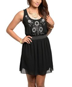 Love this Black Embroidered Blouson Dress by Buy in America on #zulily!