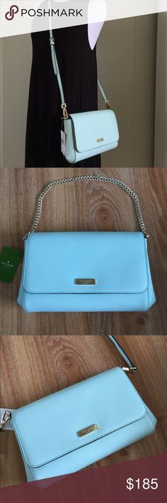 """Kate spade Greer cross body bag in grace blue ** Style: WKRU3522    ** Color: Grace blue ** Crossgrain Leather  ** Polished 14 Karat Gold Plated Hardware ** Gold Tone Kate Spade Plaque ** 1 Zip & 1 Slip Pocket inside  ** Diamond Designed Fabric Lining ** Magnetic Flap Front Snap Closure ** Gold-Tone Chain Handle w/ 7"""" Drop ** Removable, Adjustable Strap for Shoulder or Crossbody wear with 22"""" Drop kate spade Bags Crossbody Bags"""