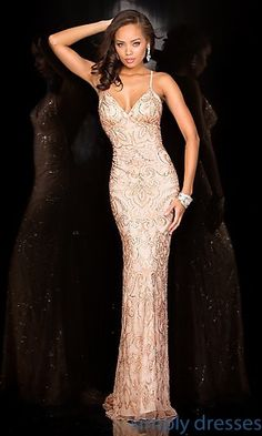 Shop Scala long formal gowns and pageant dresses at Simply Dresses. Gala ball gowns with sequin embroidery and spaghetti-strap mermaid dresses.