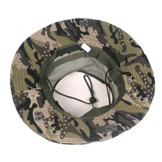 b981669a Men Summer Camouflage Mesh Bucket Hat With String Outdoor Sunshade  Fisherman Cap Sun Hats