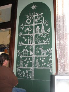 DIY draw a Christmas tree on chalkboard if you just don't have the space for one. http://christmasnotebook.com/2012/11/20/chalkboard-christmas-tree/