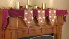 Lighted Holiday Velveteen Mantel Scarf
